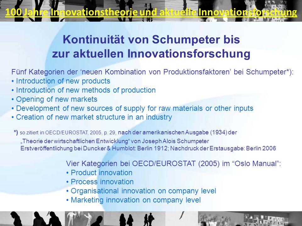 Kontinuität von Schumpeter bis zur aktuellen Innovationsforschung