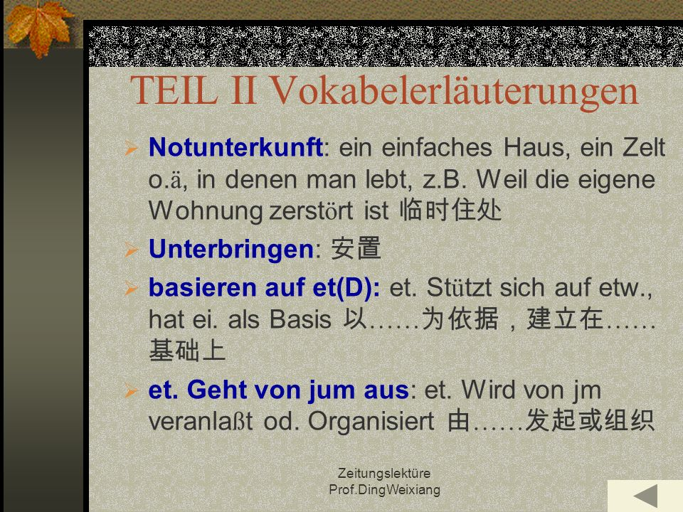 TEIL II Vokabelerläuterungen