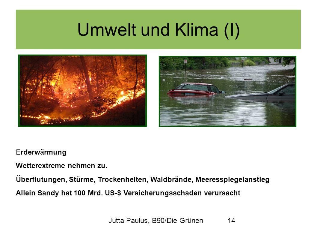 Umwelt und Klima (I) Erderwärmung Wetterextreme nehmen zu.