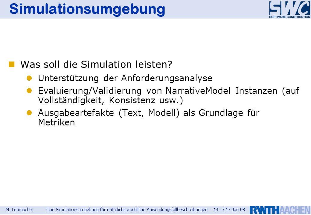 Simulationsumgebung Was soll die Simulation leisten