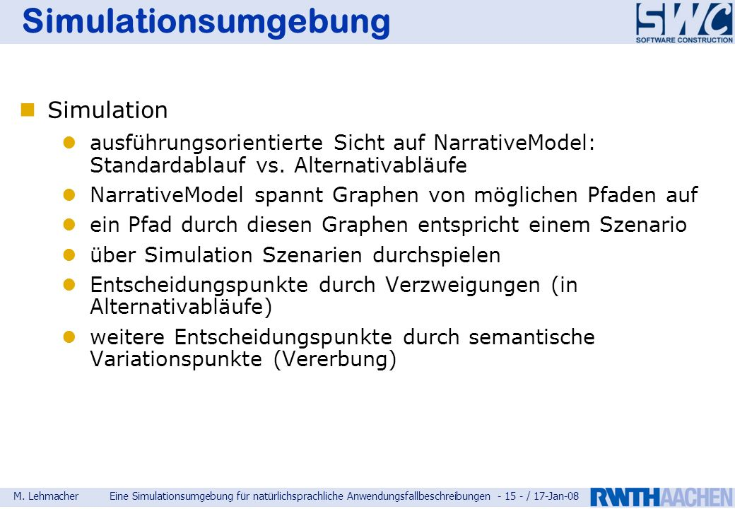Simulationsumgebung Simulation