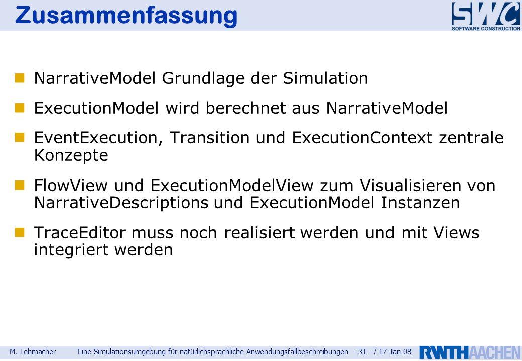 Zusammenfassung NarrativeModel Grundlage der Simulation