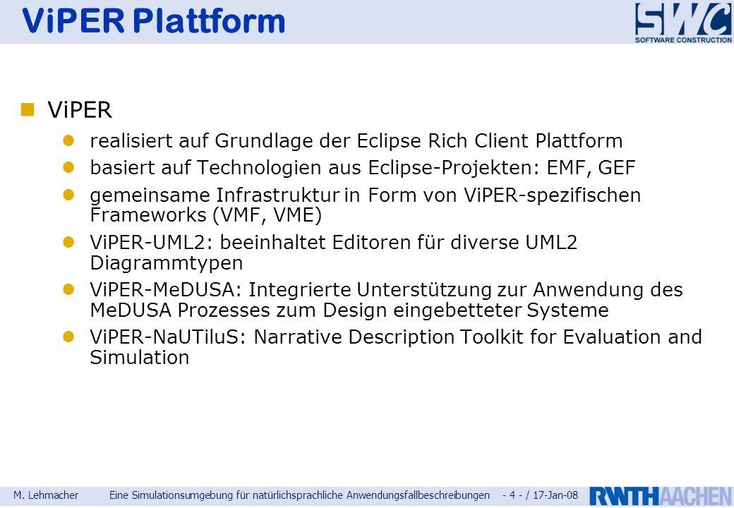 ViPER Plattform ViPER. realisiert auf Grundlage der Eclipse Rich Client Plattform. basiert auf Technologien aus Eclipse-Projekten: EMF, GEF.