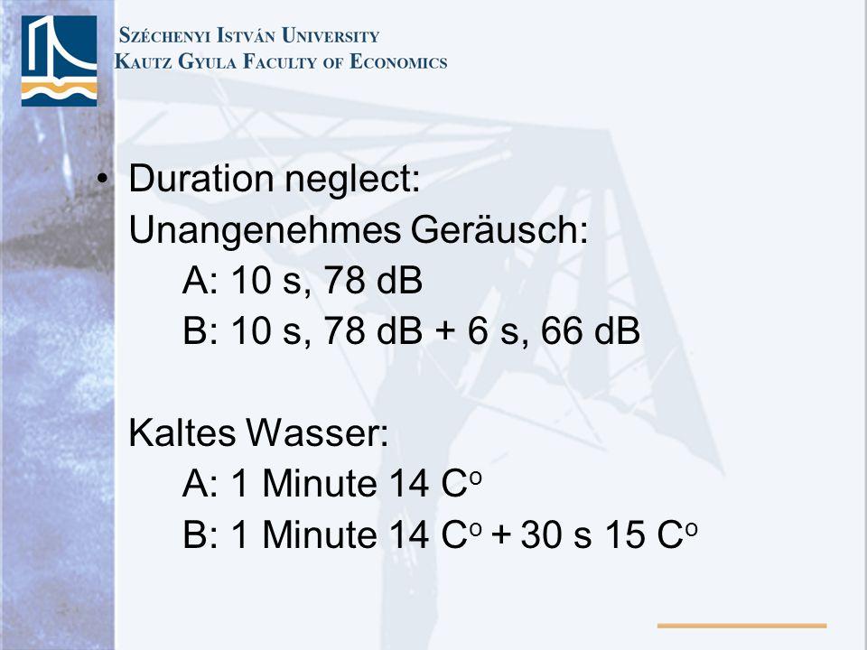 Duration neglect: Unangenehmes Geräusch: A: 10 s, 78 dB. B: 10 s, 78 dB + 6 s, 66 dB. Kaltes Wasser: