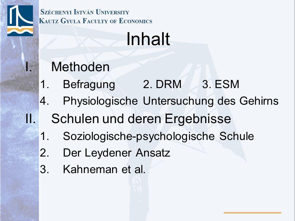 Inhalt Methoden Schulen und deren Ergebnisse Befragung 2. DRM 3. ESM