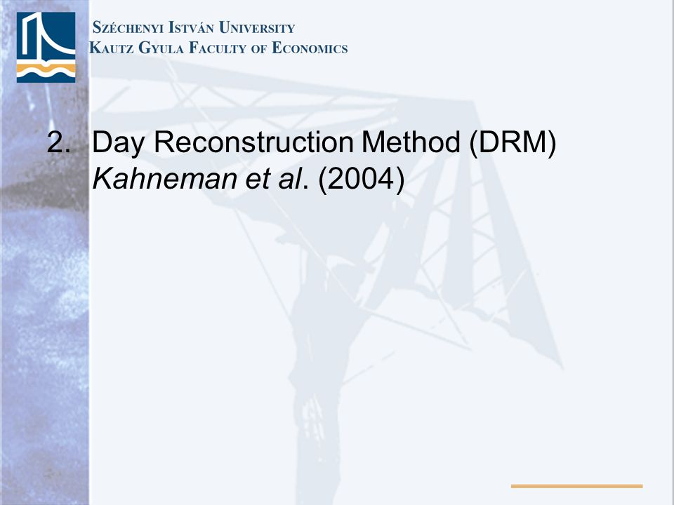 Day Reconstruction Method (DRM) Kahneman et al. (2004)