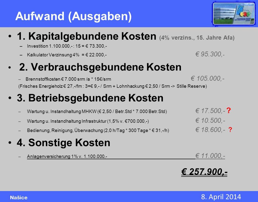 Aufwand (Ausgaben) 1. Kapitalgebundene Kosten (4% verzins., 15. Jahre Afa) Investition 1.100.000,- : 15 = € 73.300,-