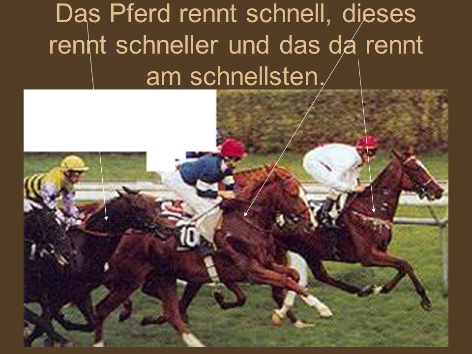 Das Pferd rennt schnell, dieses rennt schneller und das da rennt am schnellsten.