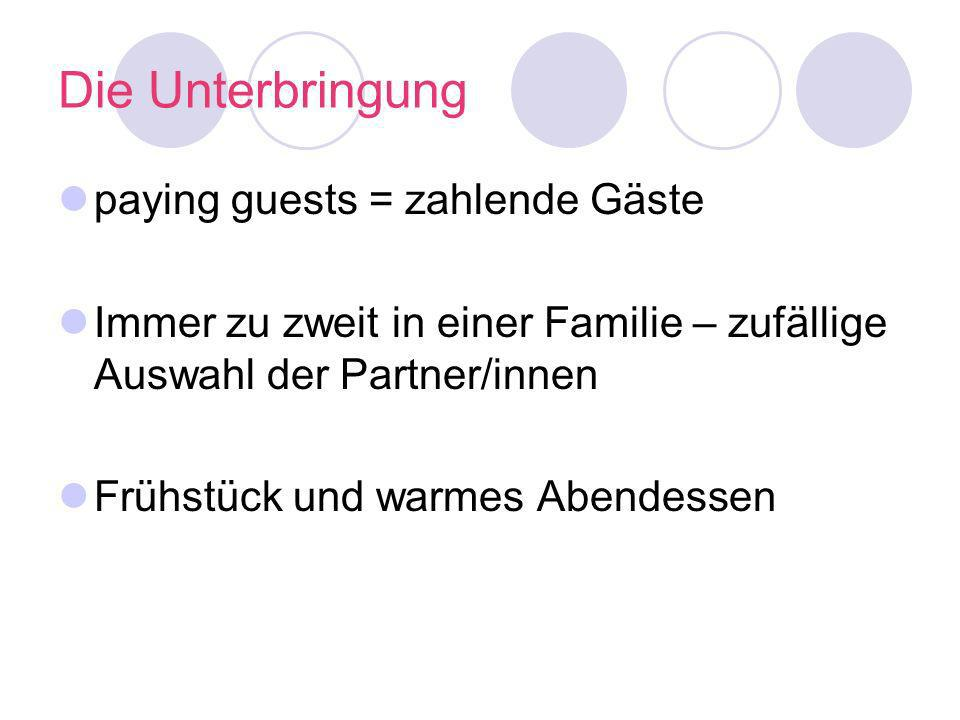 Die Unterbringung paying guests = zahlende Gäste