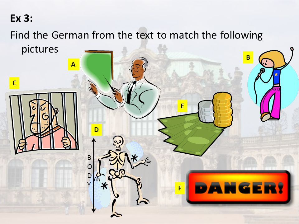 Ex 3: Find the German from the text to match the following pictures