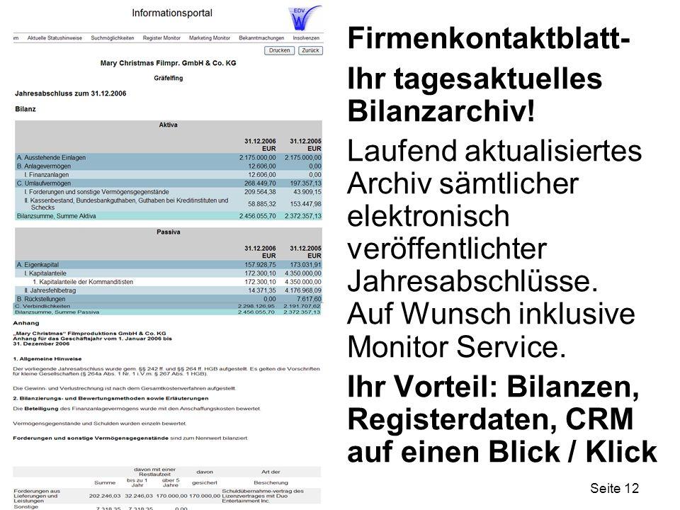 Firmenkontaktblatt- Ihr tagesaktuelles Bilanzarchiv!