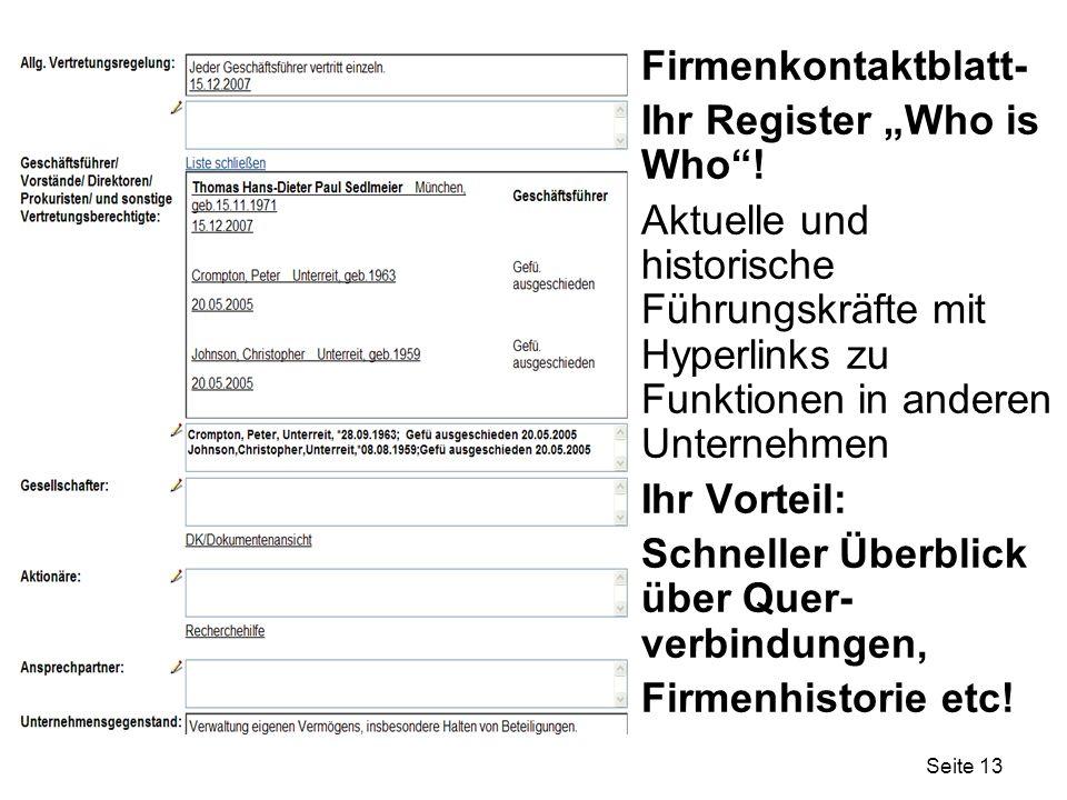 """Firmenkontaktblatt- Ihr Register """"Who is Who ! Aktuelle und historische Führungskräfte mit Hyperlinks zu Funktionen in anderen Unternehmen."""