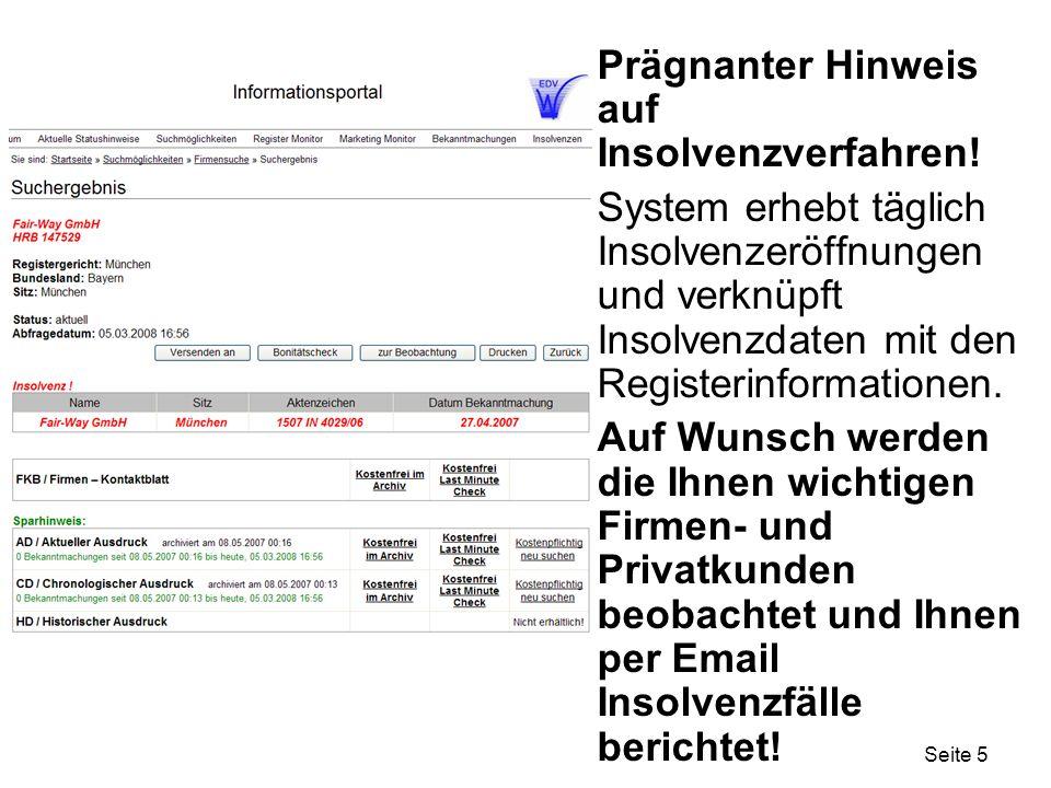 Prägnanter Hinweis auf Insolvenzverfahren!