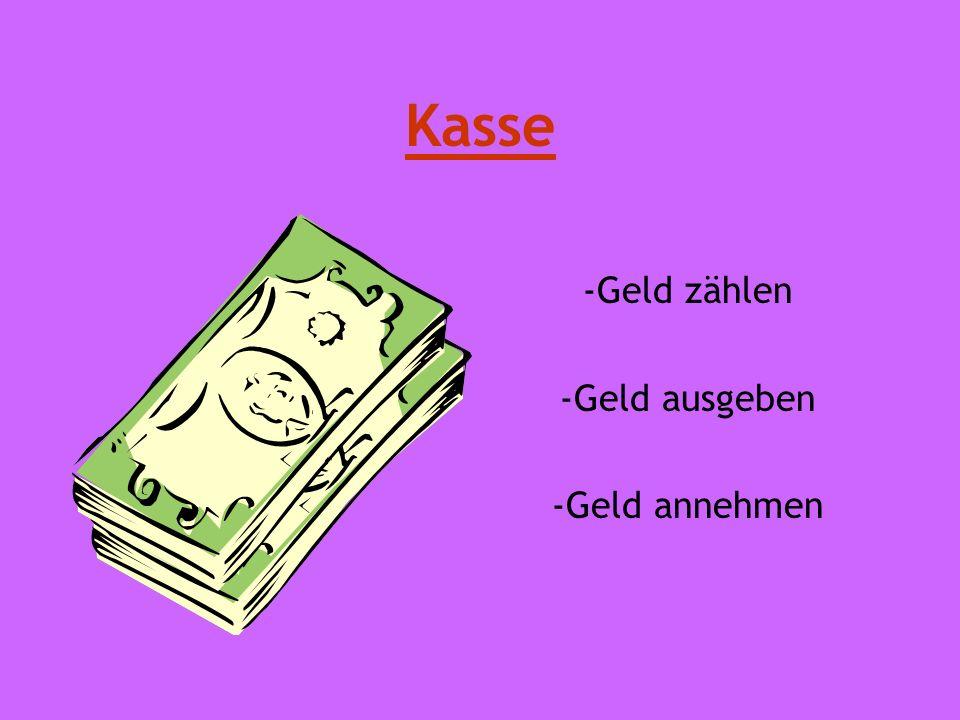 Kasse -Geld zählen -Geld ausgeben -Geld annehmen