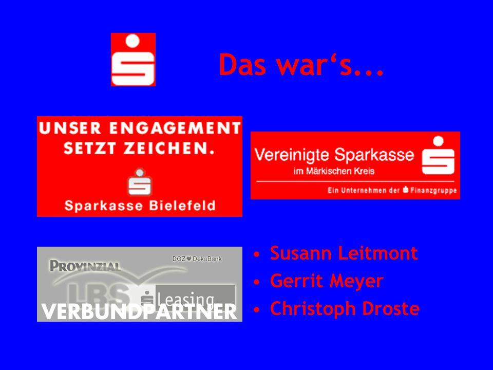 Das war's... Susann Leitmont Gerrit Meyer Christoph Droste