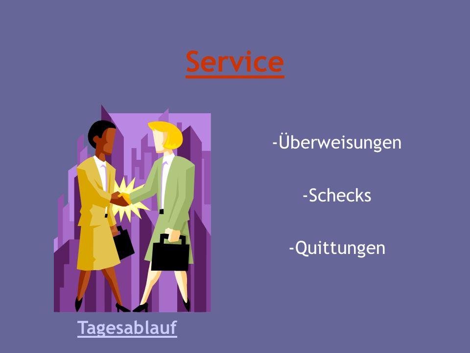Service -Überweisungen -Schecks -Quittungen Tagesablauf
