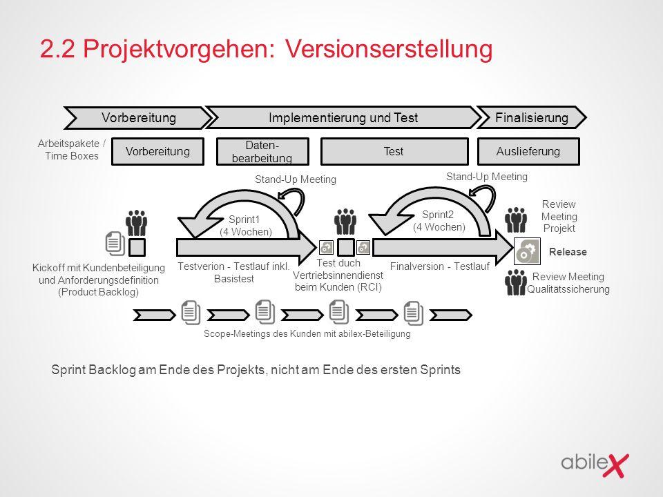 2.2 Projektvorgehen: Versionserstellung