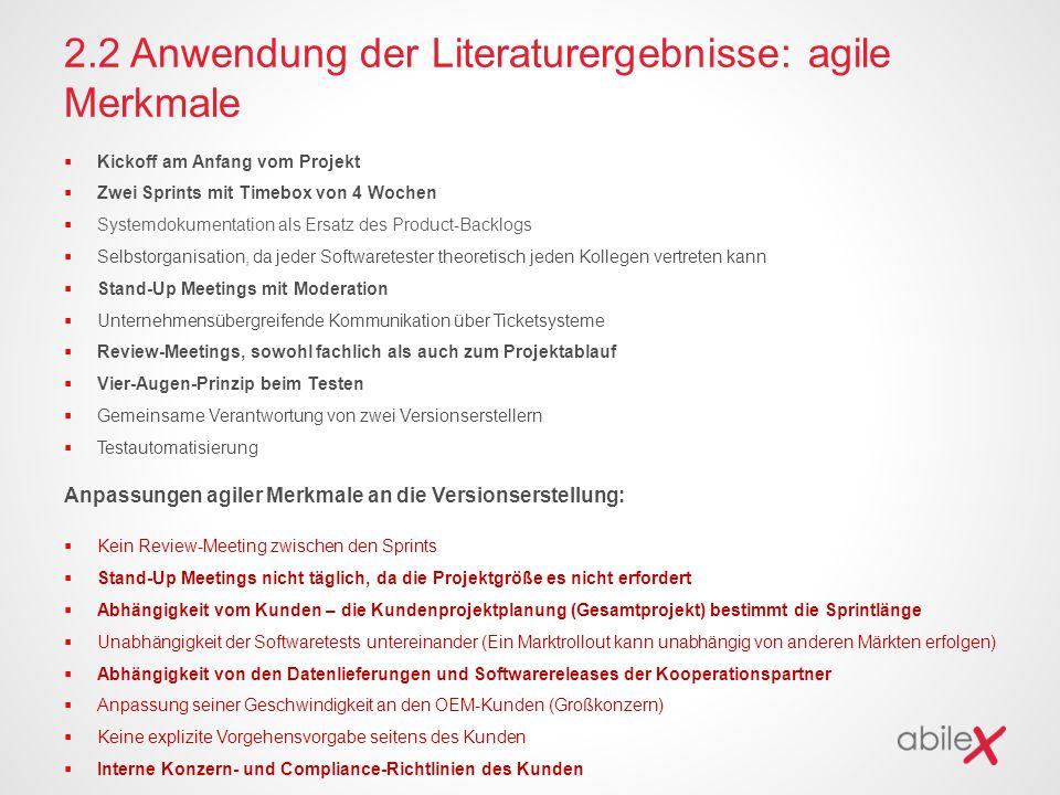 2.2 Anwendung der Literaturergebnisse: agile Merkmale