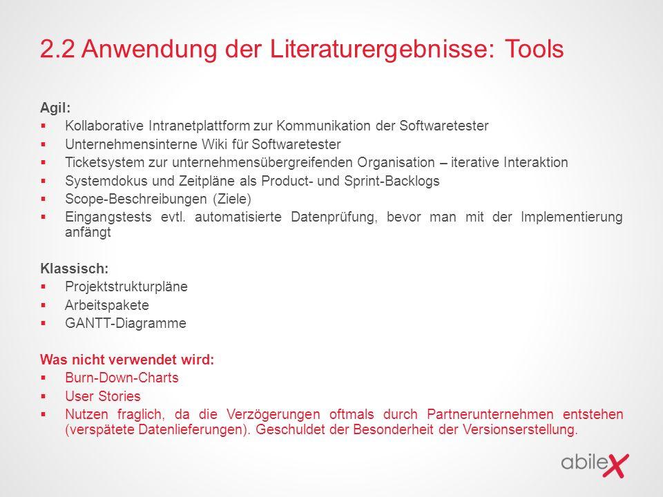 2.2 Anwendung der Literaturergebnisse: Tools