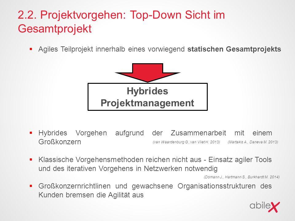 2.2. Projektvorgehen: Top-Down Sicht im Gesamtprojekt