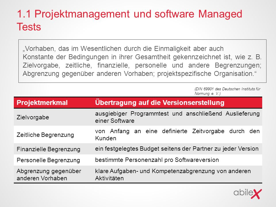 1.1 Projektmanagement und software Managed Tests