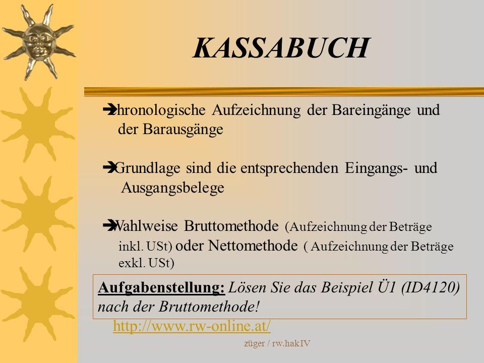 KASSABUCH chronologische Aufzeichnung der Bareingänge und