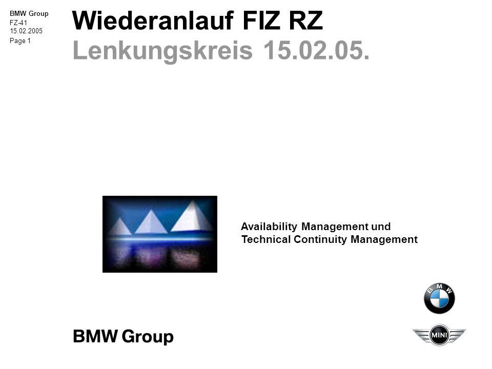 Wiederanlauf FIZ RZ Lenkungskreis 15.02.05.