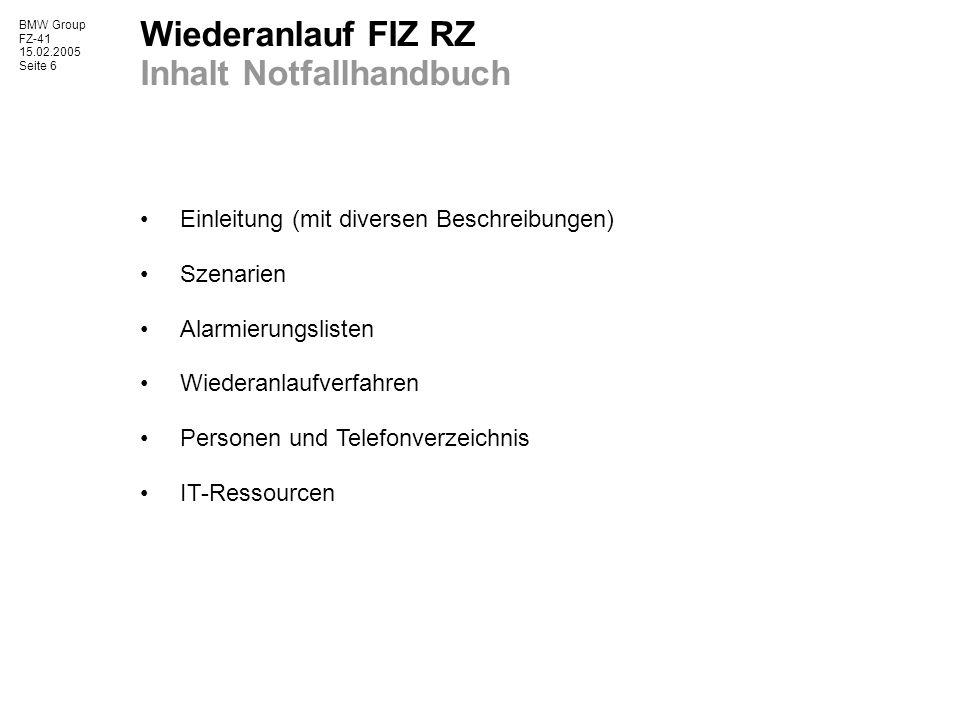 Wiederanlauf FIZ RZ Inhalt Notfallhandbuch