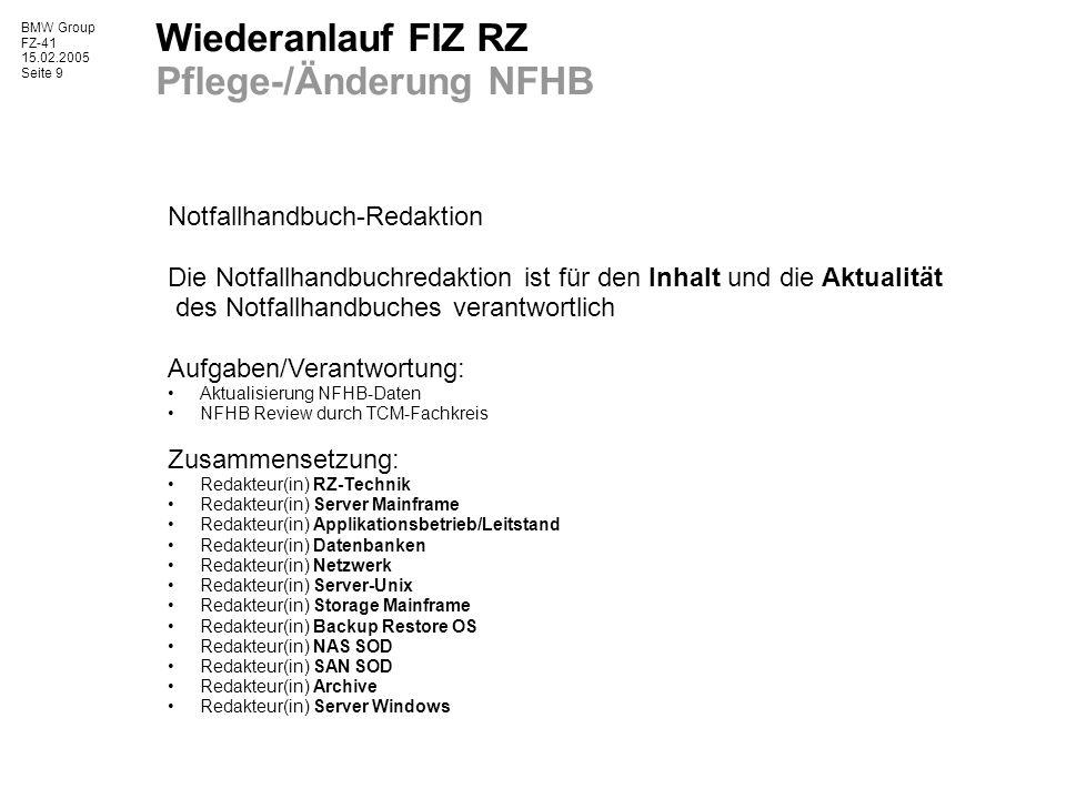 Wiederanlauf FIZ RZ Pflege-/Änderung NFHB