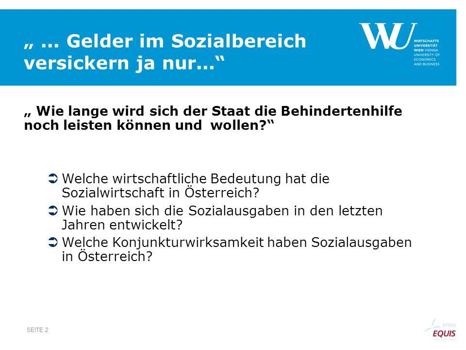""""""" ... Gelder im Sozialbereich versickern ja nur..."""