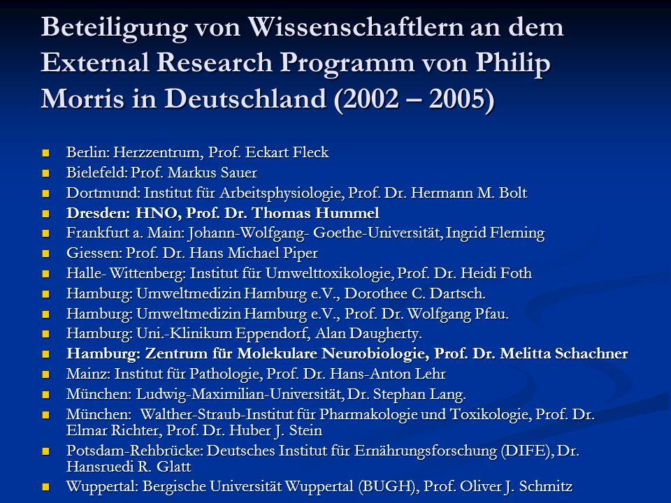 Beteiligung von Wissenschaftlern an dem External Research Programm von Philip Morris in Deutschland (2002 – 2005)