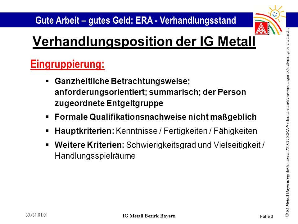 Verhandlungsposition der IG Metall