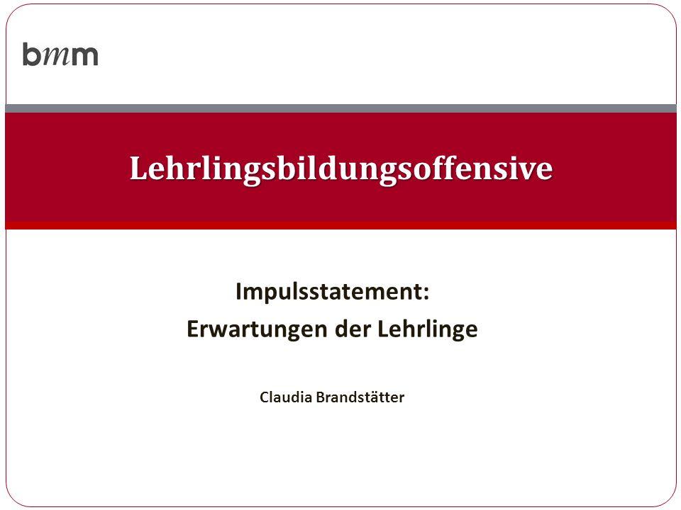 Impulsstatement: Erwartungen der Lehrlinge Claudia Brandstätter