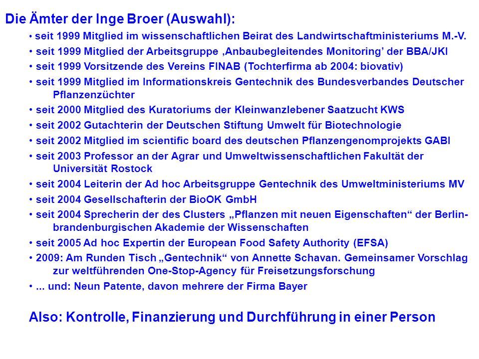 Die Ämter der Inge Broer (Auswahl):