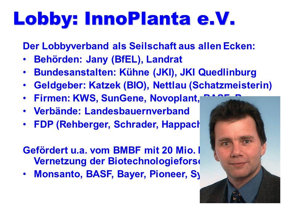 Lobby: InnoPlanta e.V. Der Lobbyverband als Seilschaft aus allen Ecken: Behörden: Jany (BfEL), Landrat.