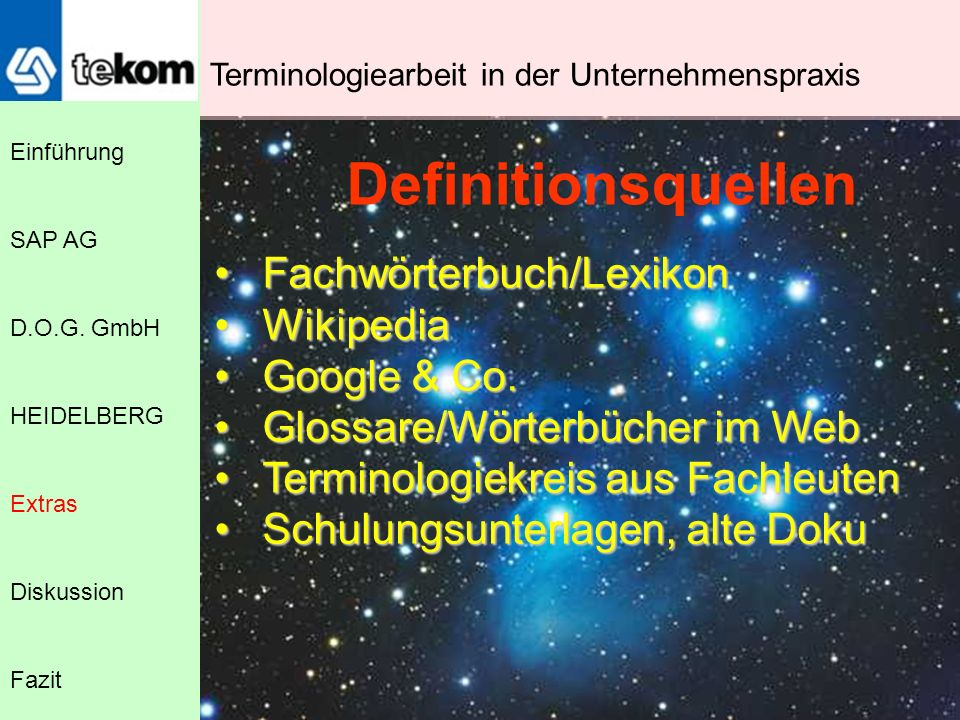 Definitionsquellen Fachwörterbuch/Lexikon Wikipedia Google & Co.