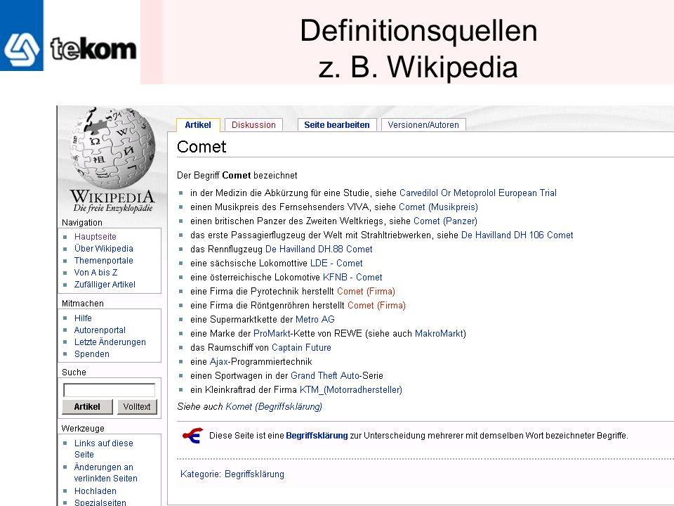 Definitionsquellen z. B. Wikipedia