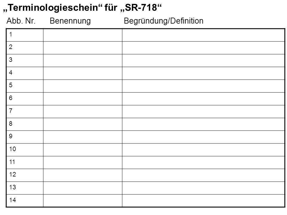 """""""Terminologieschein für """"SR-718"""