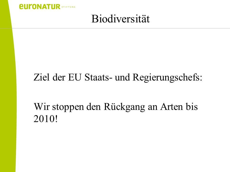 Biodiversität Ziel der EU Staats- und Regierungschefs: Wir stoppen den Rückgang an Arten bis 2010!