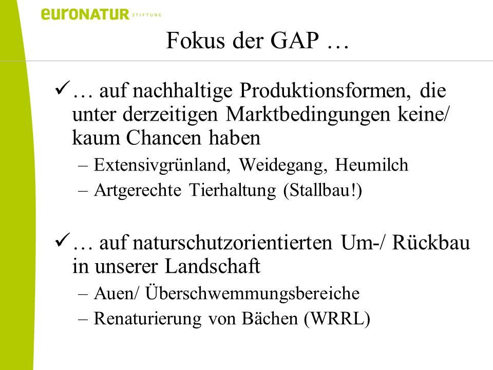 Fokus der GAP … … auf nachhaltige Produktionsformen, die unter derzeitigen Marktbedingungen keine/ kaum Chancen haben.