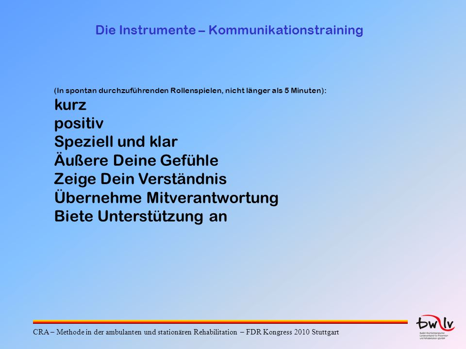 Die Instrumente – Kommunikationstraining