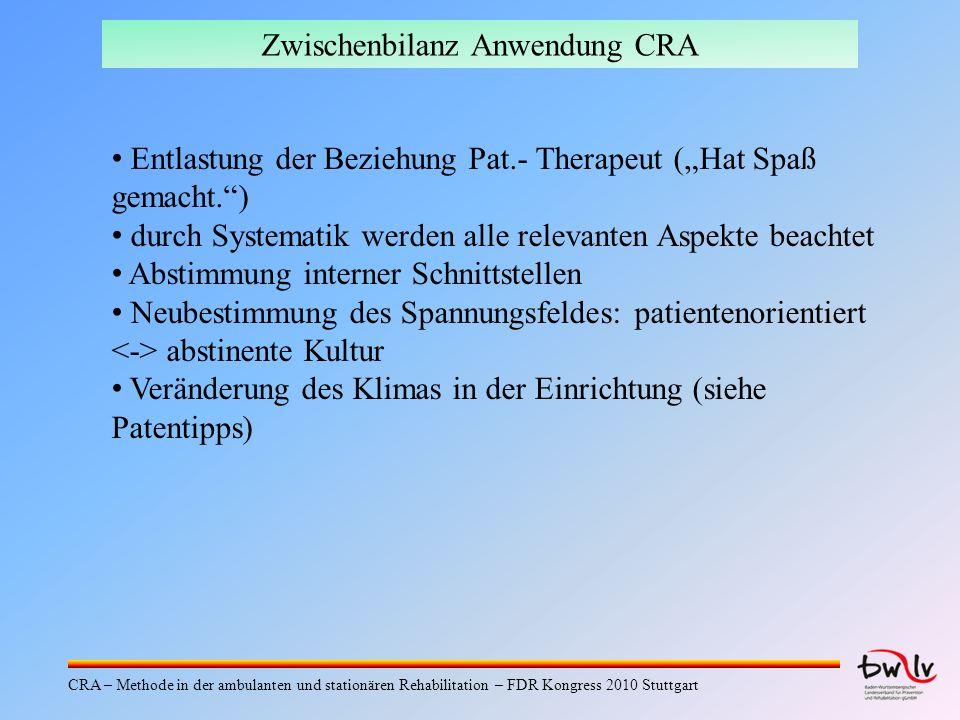 Zwischenbilanz Anwendung CRA