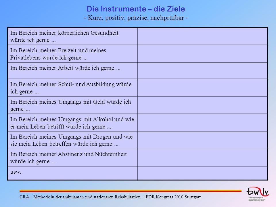 Die Instrumente – die Ziele - Kurz, positiv, präzise, nachprüfbar -