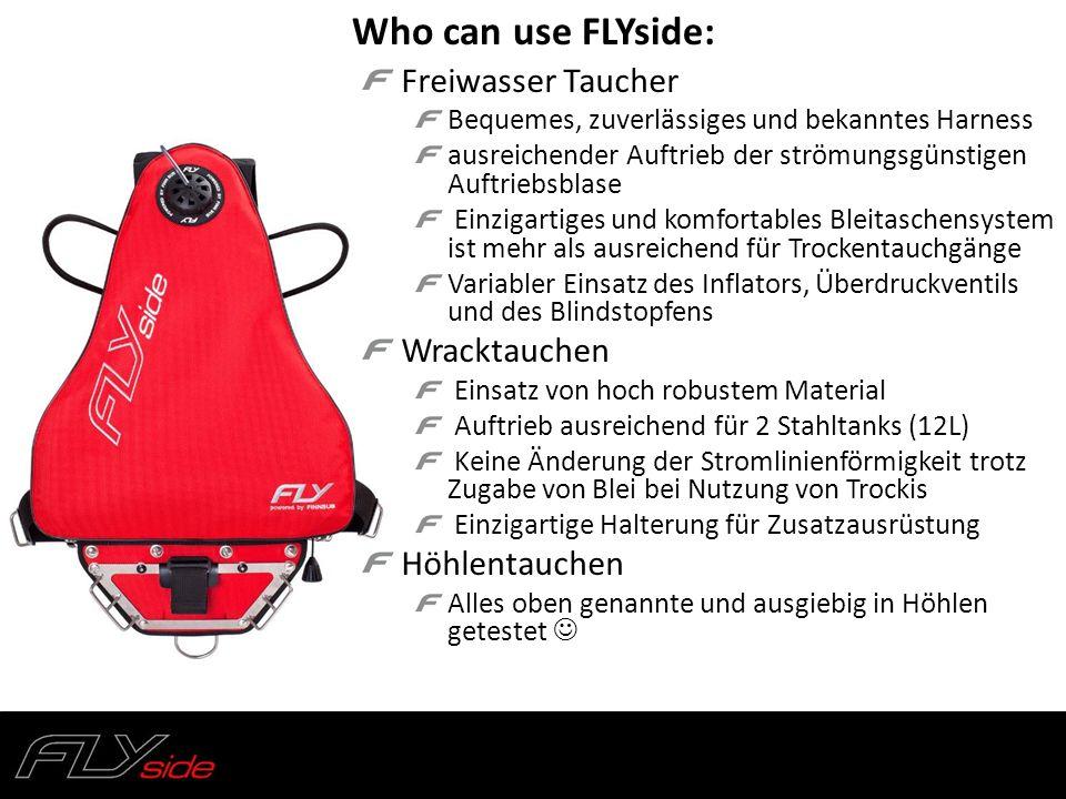 Who can use FLYside: Freiwasser Taucher Wracktauchen Höhlentauchen