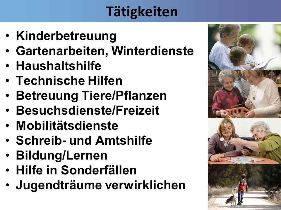 Tätigkeiten Kinderbetreuung Gartenarbeiten, Winterdienste