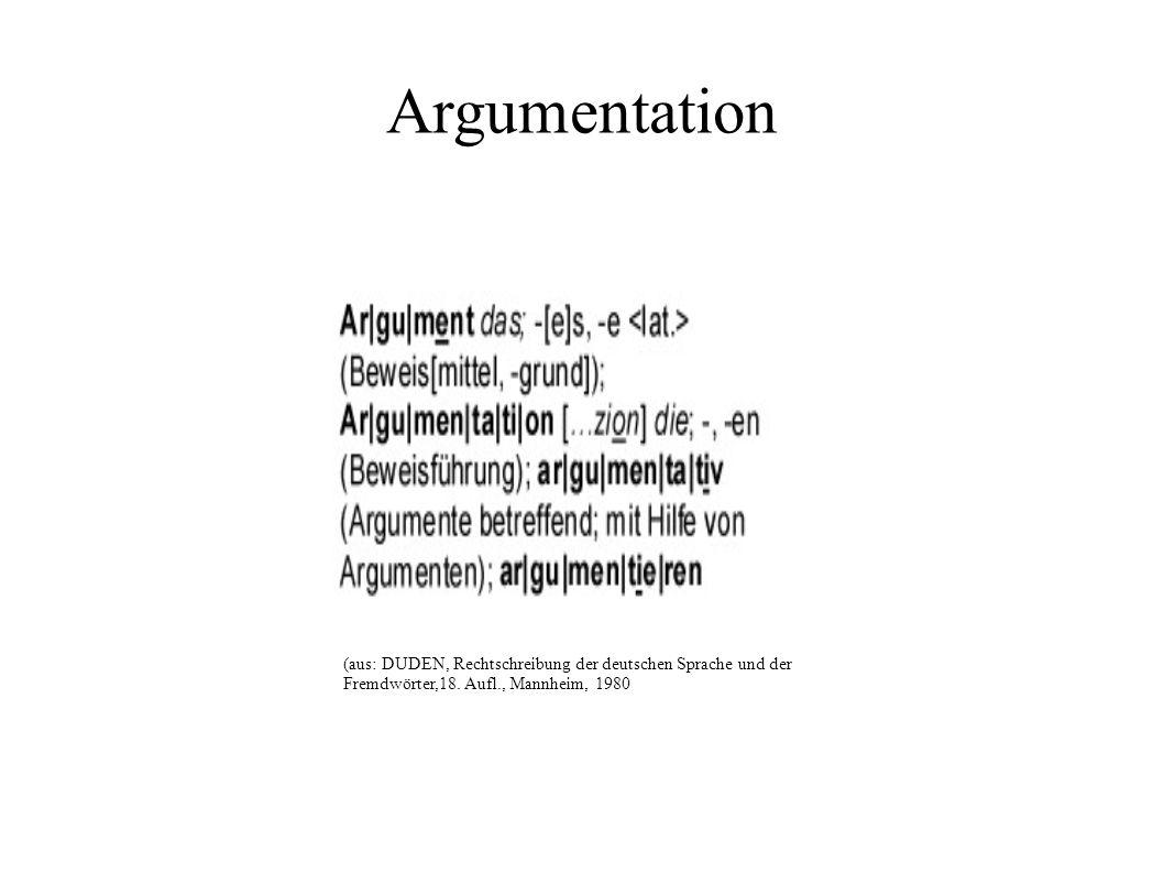 Argumentation (aus: DUDEN, Rechtschreibung der deutschen Sprache und der Fremdwörter,18.