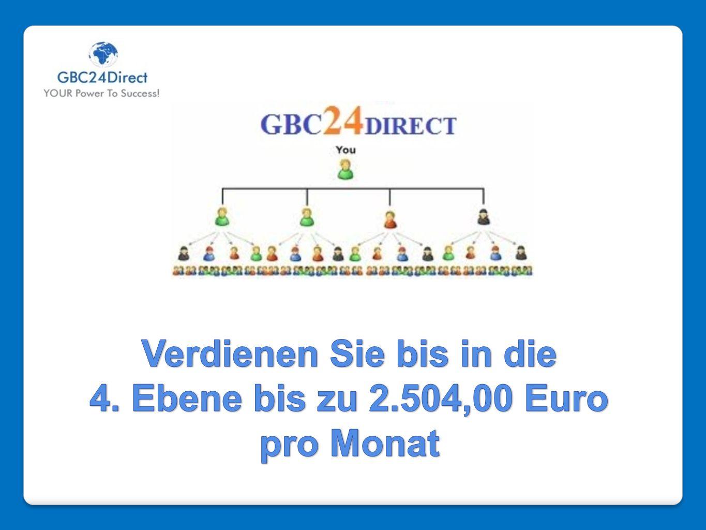 Verdienen Sie bis in die 4. Ebene bis zu 2.504,00 Euro pro Monat