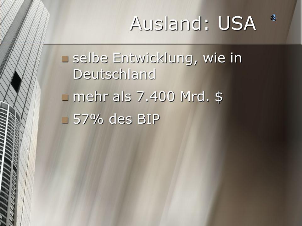 Ausland: USA selbe Entwicklung, wie in Deutschland