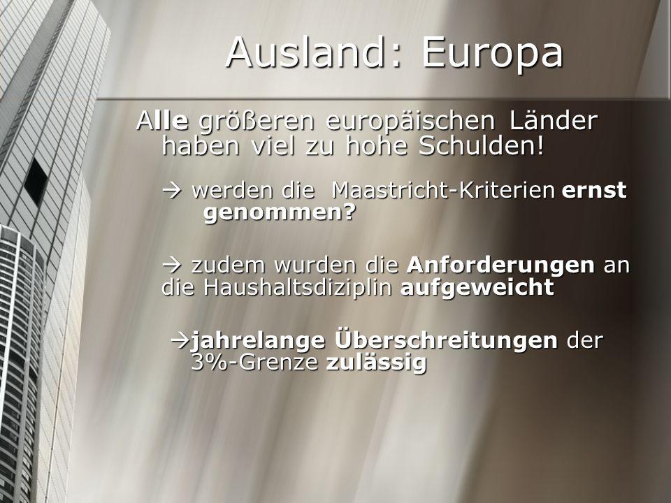 Ausland: Europa Alle größeren europäischen Länder haben viel zu hohe Schulden!  werden die Maastricht-Kriterien ernst genommen