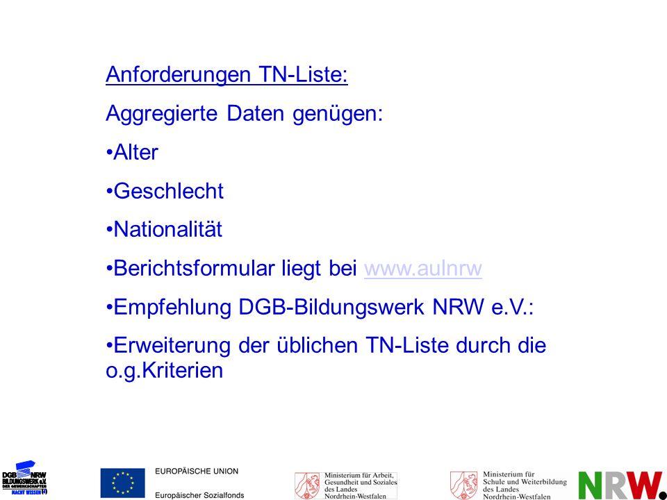 Anforderungen TN-Liste: